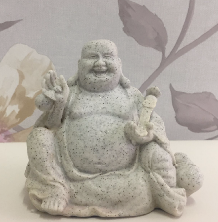 Small Granite Laughing Buddha Holding Instrument